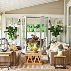Nashville Idea House Back Porch   A neutral palette connects the porch to the home's exterior and its pastoral setting.   SouthernLiving.com