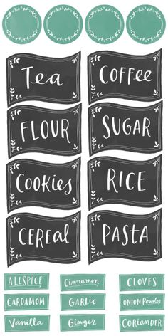 Spice jar labels also in Chalkboard st… Free Printable Kitchen Organizing Labels. Spice jar labels also in Chalkboard style. Teal color also available. designed by Emily McDowell Pantry Organization Labels, Pantry Labels, Canning Labels, Food Labels, Canning Recipes, Organization Ideas, Pantry Storage, Spice Jar Labels, Spice Jars