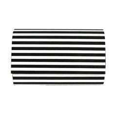 Sofia Black and White Striped Clutch ❤ liked on Polyvore featuring bags, handbags, clutches, stripe handbag, black and white striped purse, black and white handbags, black white striped purse and black and white stripe purse