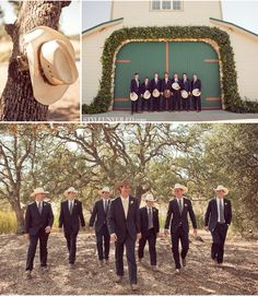 Cowboy hats & weddings <3 but khaki suits and brown boots!