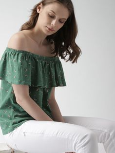 a043f007ab4 Buy Mast & Harbour Women Green Printed Bardot Top - Tops for Women 2497613    Myntra