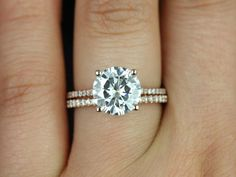 Eloise 14kt Rose Gold Round FB Moissanite and Diamonds Cathedral Engagement Ring (Other metals and stone options available)