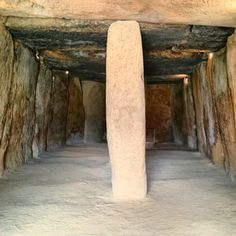 Inside the Dolmen de Menga, a 6,000 year old funerary and temple structure used by neolithic farmers in what is now called Spain.