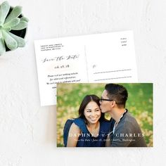 Classic Love Save The Date Postcards by Emily Crawford | Elli