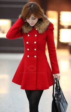 Winter Classic | Double Breasted, Red Coat.  dresslily.com
