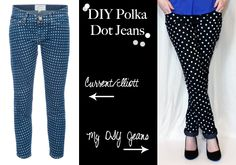 truebluemeandyou:    DIY Polka Dot Jeans. Why pay $364 for the Current/Elliott polka dot jeans when you can  download the polka dot stencil and do this easy DIY? Tutorial from Jenny Bevlin here.