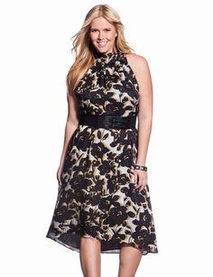 41e3777efc7f6 Floral Tie Neck Dress from eloquii.com Chubby Fashion, Curvy Girl Fashion,  Trendy