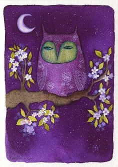 'Owl and White Flowers' by Alexandra Rouche