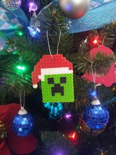 Pixel Christmas Ornaments SantaCreeper by beadelia on Etsy