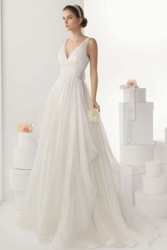 Simple V-neck Empire A-line Backless Chiffon Wedding Dress with Sweep Train JSWD0254
