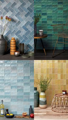Colourful glazed ceramic tiles with an artisanal, handcrafted character Ceramic Tile Bathrooms, Glazed Ceramic Tile, Bathroom Interior Design, Modern Interior Design, English Interior, Handmade Kitchens, Color Tile, Colour, Tiles Texture