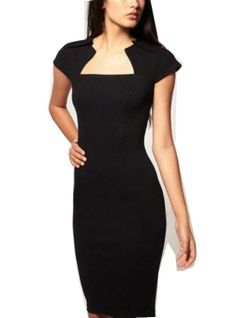 Amazon.com: WIIPU fashion Square Neck party Rockabilly Bodycon Business Pencil Dress (WP-57): Clothing