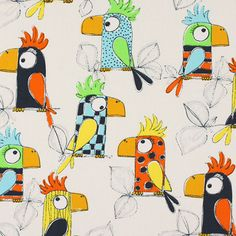Cotton Parrot - Kids Fabricsfavorable buying at our shop Doodle Drawings, Doodle Art, Classe D'art, Directed Drawing, Canvas Painting Tutorials, Alphabet Crafts, Bird Crafts, Learn Art, Fabric Birds