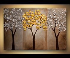 ORIGINAL Abstract Contemporary Gold Silver  Blossom Acrylic Tree Painting Landscape Palette Knife Texture by Osnat Ready to Hang