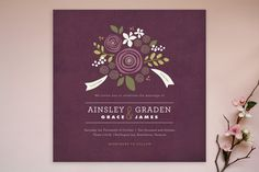 Poppies and Peonies Wedding Invitations by Jennifer Wick at minted.com- love but in tangerine