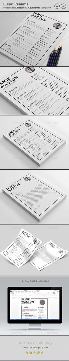 #Resume - Resumes #Stationery Download here: https://graphicriver.net/item/resume/19208129?ref=alena994