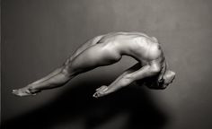 Nude figure drawing pose reference - jumping / falling