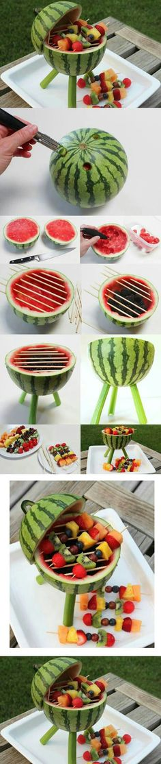 10 Watermelon Carving Ideas and Tutorials Watermelon is refreshing and delicious to eat. Here are 10 Watermelon Carving Ideas and Tutorials that you can use for your next party. Snacks Für Party, Bbq Party, Pool Snacks, Cute Food, Good Food, Yummy Food, Delicious Fruit, Food Design, Watermelon Carving