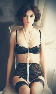 Vintage garters are best. And check the bow placement on the bra! I have a thing for nipple details lately. It's so wrong.