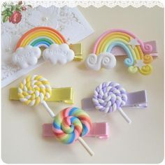 """""""Lollipops and Rainbows"""" Hair Clips - Who doesn't love lollipops and rainbows? - Adorable hair clips made of polymer clay"""
