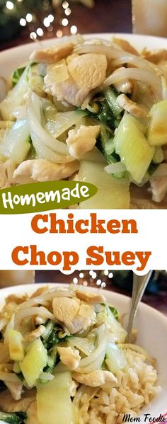 Chicken Chop Suey Recipe and Easy Chinese Dinner Theme! Homemade Chicken Chop Suey and easy Chinese dinner theme Seafood Recipes, Dinner Recipes, Cooking Recipes, Chop Suey Recipe Chinese, Easy Chicken Chop Suey Recipe, Chinese Cabbage Soup Recipe, Chop Suey Sauce, Chicken, Recipes