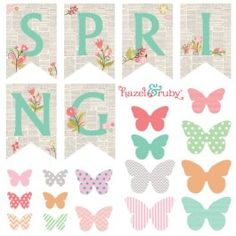 Spring DIY Vintage Banner & Butterflies FREE printable: We are in LOVE with this darling DIY Spring banner...(Visit Hazel And Ruby for more details)