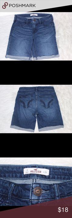 Hollister Shorts Dark wash boyfriend shorts from Hollister perfect balance between long and short // 24 in waist Hollister Shorts Jean Shorts