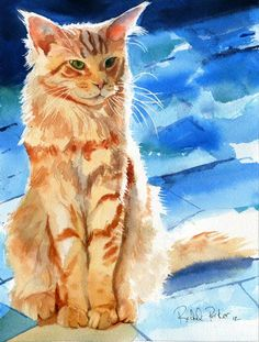 PRINT Orange Yellow Tabby Cat Maine Coon Art by rachelsstudio, $25.00