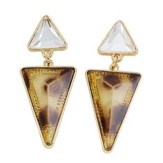 Triangle Tortoiseshell Stone Drop Post Earrings [EYPWE1019GDBR] : Wholesale24x7.com - Fashion Scarves and Accessories Wholesale, One Stop Wholesale Shopping for Scarves, Jewelry and Fashion Accessories!