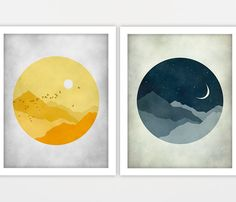 Moon and Stars, Nursery Wall Art, Starry Night, Sunshine, Children Wall Art - Print Set of 2