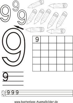 Zahlen schreiben üben   Zahlen schreiben üben ausmalen   Ausmalbilder :: Math For Kids, 4 Kids, Abc Crafts, School Worksheets, Teaching Materials, School Hacks, Pre School, Kindergarten, Homeschool