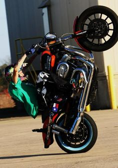 Harley sportster wheelie.  Been there done that lol