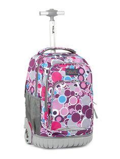 a72fe1d17b Tilami Girl Rolling Backpack Armor Luggage For School Travel Multifunction Wheeled  Backpack Vivid Spotty