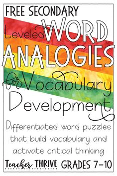 Secondary and middle school teachers, you will love these FREE word analogies for grades These vocabulary activities are simple, yet so effective for teaching students a deep understanding of word meanings. Critical Thinking Activities, Critical Thinking Skills, Middle School Ela, Middle School Teachers, Education Middle School, Elementary Schools, High School, Teaching Vocabulary, Vocabulary Activities