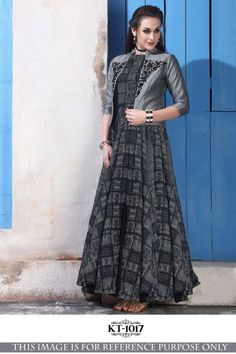 Buy Black Colored Chanderi Cotton with Digital Print Long Gown with Banglory Silk Koti Pakistani Dresses, Indian Dresses, Indian Outfits, Designer Gowns, Indian Designer Wear, Gown With Jacket, Party Kleidung, Printed Gowns, Indian Party Wear