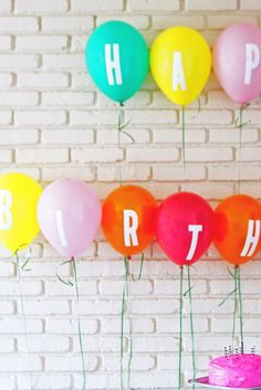 alphabet party balloons - maybe this looks a little bit more cute and organized than just random alphabet balloons. We can hang this along the banister leading upstairs?