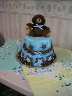 Blue Moon Teddy Bear Baby Shower Cake