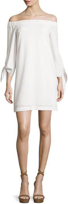 Tibi Structured Crepe Off-the-Shoulder Shift Dress, Ivory Tibi Dresses, Ivory Dresses, Dresses With Sleeves, Ivory Dress Short, White Dress Winter, Winter White, White Off Shoulder Dress, White Shift Dresses, Playing Dress Up
