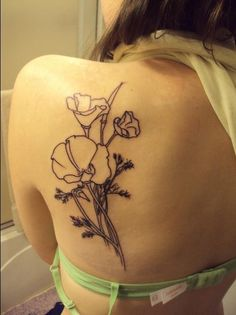 black and white california poppy tattoo - Google Search