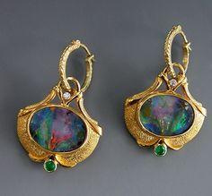 22K Gold, Boulder Opal Split, Emerald and Diamond Earrings by Athenae Inc ~ x #opalsaustralia