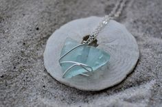 Aqua Blue Seaglass Necklace  Sterling Silver  by ShatteredSmooth, $22.00