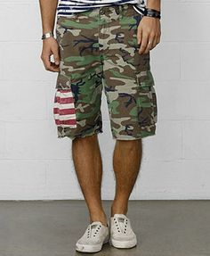 New $165 Polo Ralph Lauren Olive Green Cargo Shorts Military ...