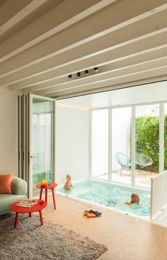 Indoor small pool just outside living room