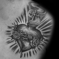 Black And Grey Sacred Heart With Roses Tattoo On Left Front Shoulder By Steve So. Black And Grey Sacred Heart With Roses Tattoo On Left Front Shoulder By Steve Soto. Cross Tattoo Meaning On Hand Jesus Tattoo, Tattoo Son, Back Tattoo, Hand Tattoos, Rose Tattoos, Body Art Tattoos, Sleeve Tattoos, Cloud Tattoos, Butterfly Tattoos