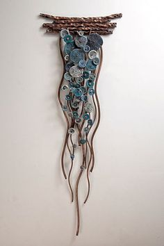 Flow in Blues by Hannie Goldgewicht: Copper & Ceramic Sculpture available at www.artfulhome.com
