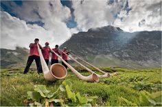 Blow Job - Alphornplayers at Truebsee, Engelberg in the Swiss Alps