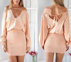 Peach Hippie Couture Dress