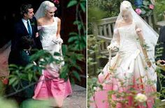 Gwen Stefannis wededing dress,with veil over face(pre-ceremony)and without (after vows).