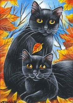 Black Cat Autumn Fall Halloween Original Art Painting by MARTA