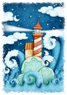 The Lighthouse by KJ Illustration, via Behance